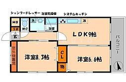 ユートピア中野2[3階]の間取り