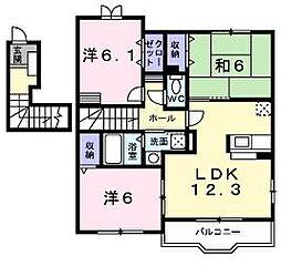 JR予讃線 宇多津駅 4.2kmの賃貸アパート 2階3LDKの間取り