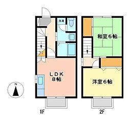 愛知県名古屋市中村区東宿町1丁目の賃貸アパートの間取り