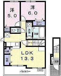 岡山県倉敷市神田4丁目の賃貸アパートの間取り