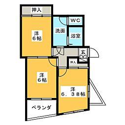 リバーサイドビュー[3階]の間取り
