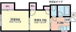椿ハイツ[2-B号室]の間取り