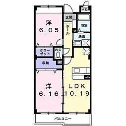 JR奥羽本線 山形駅 バス9分 付属学校前下車 徒歩5分の賃貸マンション 1階2LDKの間取り