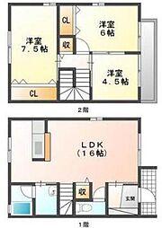 [タウンハウス] 岡山県岡山市中区高屋 の賃貸【/】の間取り