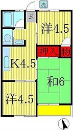 第3八木原コーポ[1階]の間取り