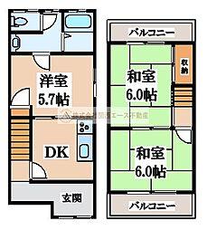 [テラスハウス] 大阪府堺市北区百舌鳥梅北町5丁 の賃貸【/】の間取り