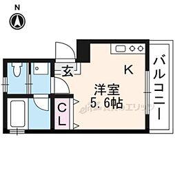 京阪本線 伏見稲荷駅 徒歩2分の賃貸アパート 3階ワンルームの間取り