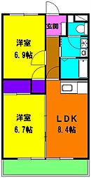 静岡県磐田市今之浦5丁目の賃貸マンションの間取り