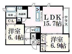 JR東海道本線 芦屋駅 3階建 築8年 2階2LDKの間取り