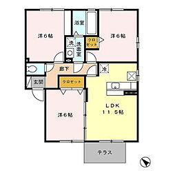 セジュールポムA[1階]の間取り