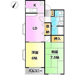 Yamayoshi ラタン館[201号室]の間取り