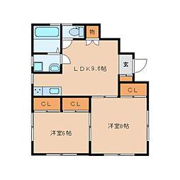 静岡県静岡市葵区銭座町の賃貸アパートの間取り