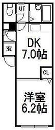 クレステージ747[205号室]の間取り