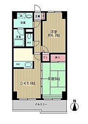 神奈川県川崎市川崎区中島2丁目の賃貸マンションの間取り