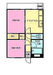 石川第一マンション[204号室]の間取り