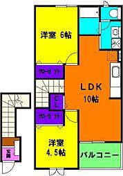 静岡県浜松市東区薬師町の賃貸アパートの間取り