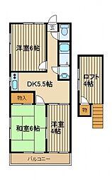 クローバーハウスA棟[2階]の間取り