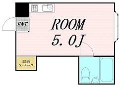 京橋ハイツ30 1階ワンルームの間取り