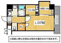 JR鹿児島本線 九州工大前駅 3.4kmの賃貸マンション 2階1LDKの間取り