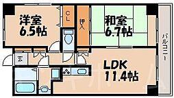 広島県安芸郡海田町栄町の賃貸マンションの間取り