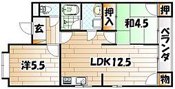 福岡県北九州市小倉北区霧ケ丘2丁目の賃貸アパートの間取り
