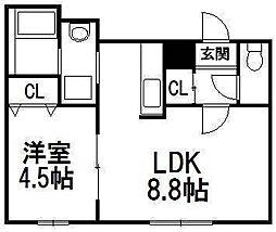 北海道札幌市西区西町北9の賃貸マンションの間取り