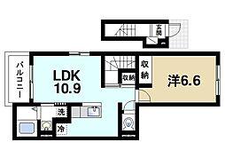 近鉄大阪線 大福駅 徒歩16分の賃貸アパート 2階1LDKの間取り