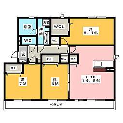 愛知県名古屋市中村区二ツ橋町5丁目の賃貸アパートの間取り