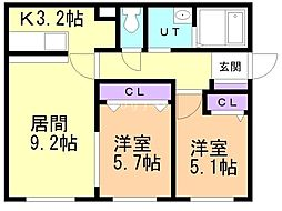 Agito北ノ沢 1階2LDKの間取り