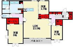 JR鹿児島本線 黒崎駅 徒歩17分の賃貸マンション 2階3LDKの間取り