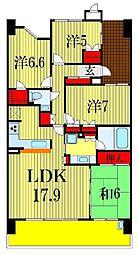 千葉県船橋市浜町2丁目の賃貸マンションの間取り