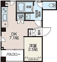 スカイレジデンス菊川 5階1DKの間取り