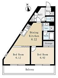 三栄ハイツ3(安心のオートロック、エレベーター付)[301(角部屋)号室]の間取り