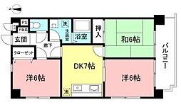 京王線 中河原駅 徒歩3分の賃貸マンション 2階3DKの間取り