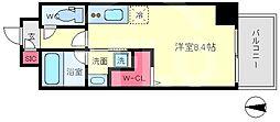セルン新町 11階ワンルームの間取り