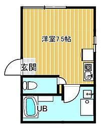 東武大師線 大師前駅 徒歩5分の賃貸マンション 1階1Kの間取り