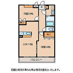 長野県諏訪郡富士見町富士見の賃貸アパートの間取り