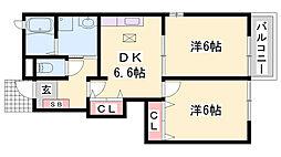 JR加古川線 西脇市駅 バス40分 東山下車 徒歩2分の賃貸アパート 1階2DKの間取り