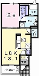 ニューアメニティー太子II 1階1LDKの間取り