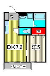 埼玉県蕨市中央3の賃貸アパートの間取り