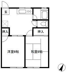 ハイツカワバタI[202号室]の間取り