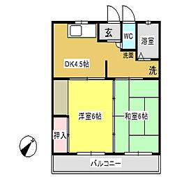 愛知県額田郡幸田町横落の賃貸アパートの間取り
