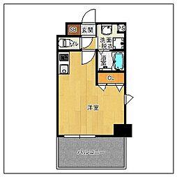 サヴォイ ソリディティ 8階ワンルームの間取り