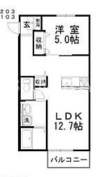 岡山県岡山市北区中仙道1の賃貸アパートの間取り