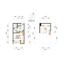 西鉄天神大牟田線 雑餉隈駅 徒歩9分の賃貸アパート 2階1Kの間取り