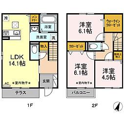[テラスハウス] 神奈川県鎌倉市常盤 の賃貸【/】の間取り