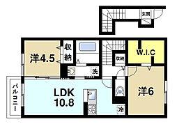 メルベーユ 2階2LDKの間取り