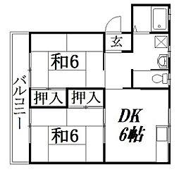 静岡県浜松市中区佐鳴台1丁目の賃貸アパートの間取り