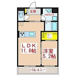 JR日豊本線 隼人駅 3.1kmの賃貸マンション 3階1LDKの間取り