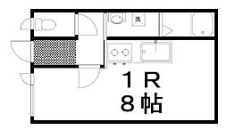 グリーンヒル88 1階ワンルームの間取り